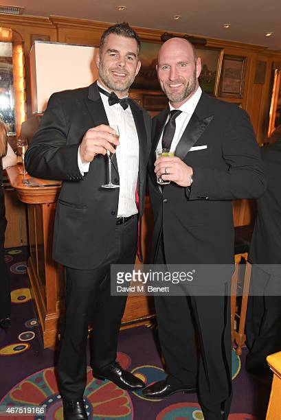 Nick Easter and Lawrence Dallaglio attend the 6 Nations Review dinner supporting the Matt Hampson Foundation and Wooden Spoon children's charity at...