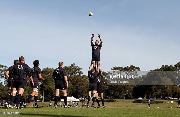 Nick Easter catches the ball during England training at the McGillivray Oval on June 4 2010 in Perth Australia