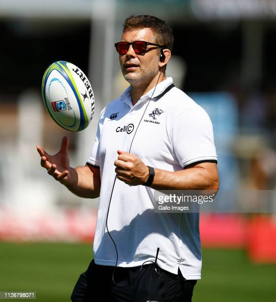 Nick Easter coaching consultant for the Sharks looks on prior to the Super Rugby round two match between The Sharks and The Blues at Jonsson Kings...