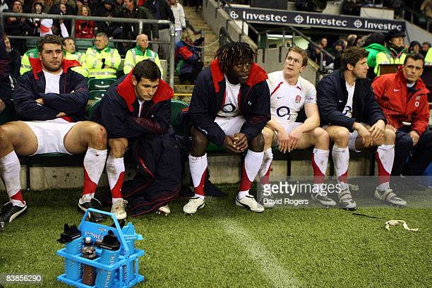 Nick Easter Danny Care Paul Sackey Tom Rees and Michael Lipman of England look dejected during the Investec Challenge match between England and New...