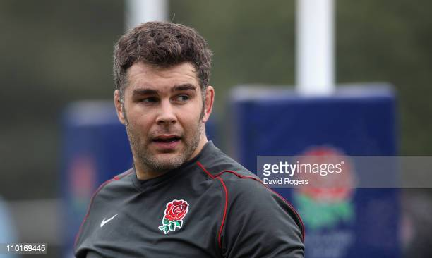 Nick Easter looks on during the England training session held at Pennyhill Park Hotel on March 16 2011 in Bagshot England