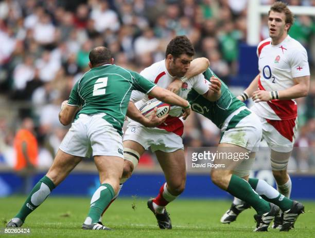 Nick Easter of England is tackled by Rory Best of Ireland during the RBS 6 Nations Championship match between England and Ireland at Twickenham on...