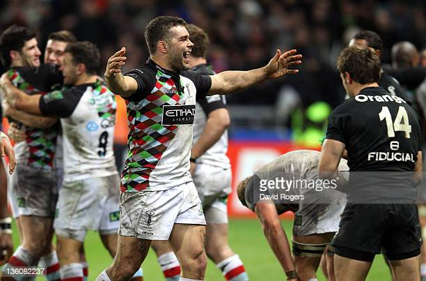 Nick Easter of Harlequins celebrates his teams victory at the final whistle during the Heineken Cup match between Toulouse and Harlequins at Le...