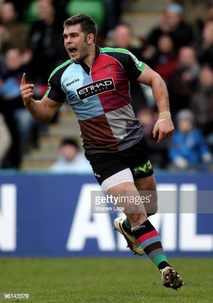 Nick Easter of Harlequins celebrates scoring a try during the Heineken Cup round six match between Harlequins and Cardiff Blues at The Stoop on...