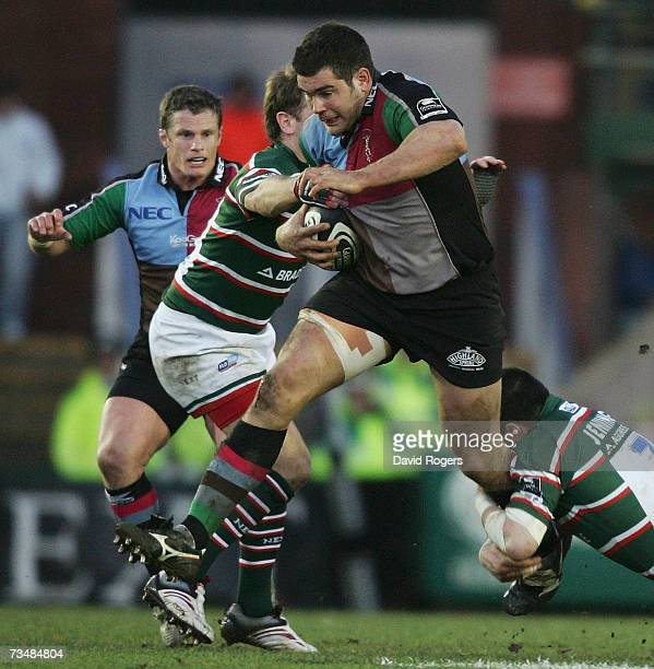 Nick Easter of Harlequins charges up field during the Guinness Premiership match between Leicester Tigers and NEC Harlequins at Welford Road on March...