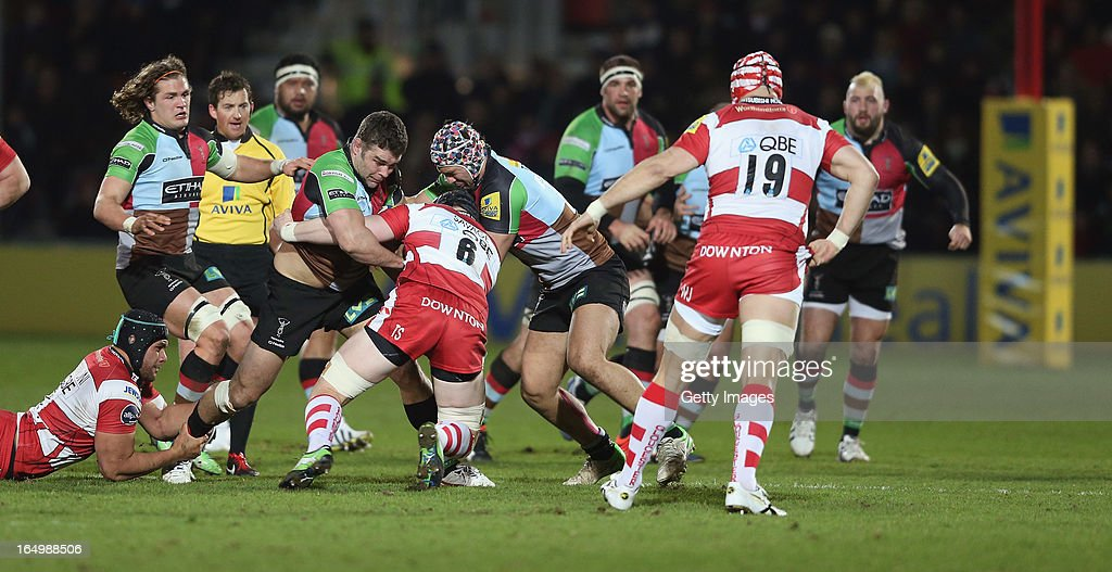 Nick Easter of Harlequins is tackled during the Aviva Premiership match between Gloucester and Harlequins at Kingsholm on March 29, 2013 in Gloucester, England.