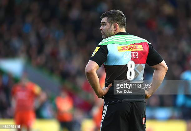 Nick Easter of Harlequins looks on during the Aviva Premiership match between Harlequins and Leicester Tigers at the Twickenham Stoop on January 10...