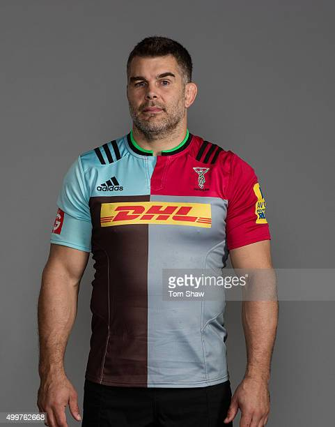 Nick Easter of Harlequins poses for a picture during the Harlequins photoshoot for BT Sport at Surrey Sport Park on November 3 2015 in Guildford...