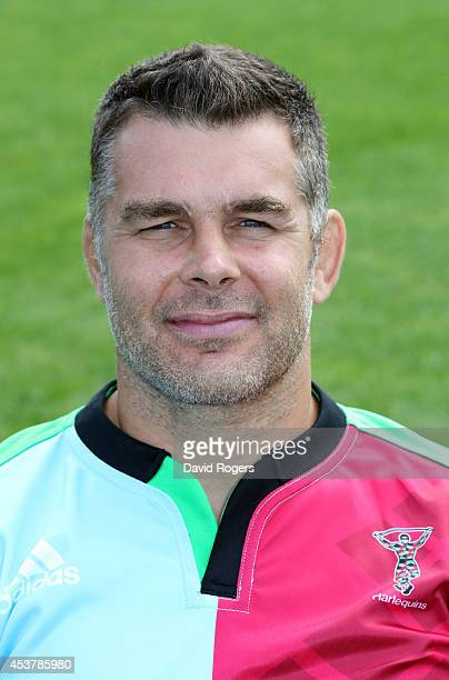 Nick Easter of Harlequins poses for a portrait at the photocall held at the Surrey Sports Centre on August 18 2014 in Guildford England