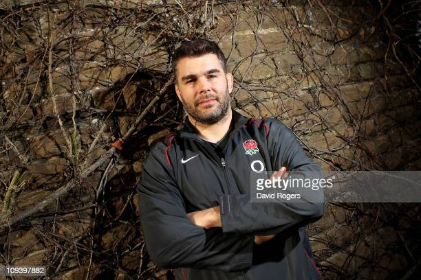 Nick Easter poses during the England Rugby press conference ahead of their RBS Six Nations clash against France held at Pennyhill Park Hotel on...