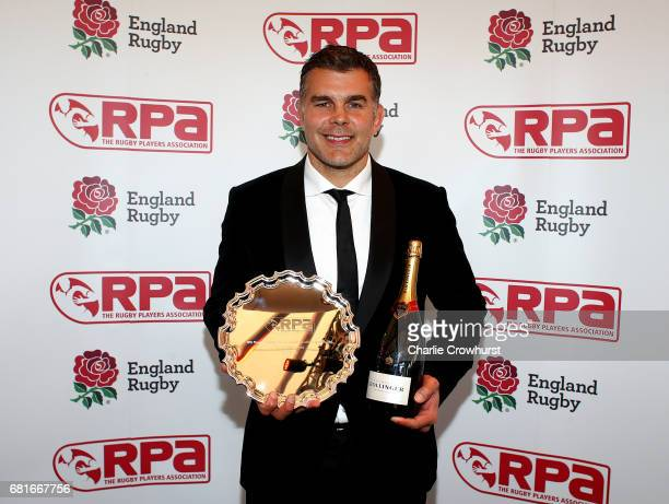 Nick Easter poses with his RPA Special Merit Award in association with Premiership Rugby during the RPA Players' Awards 2017 at Battersea Evolution...