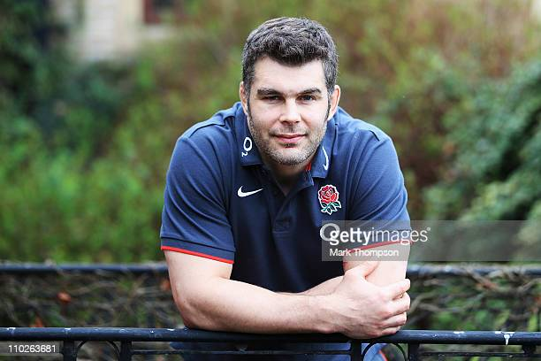 Nick Easter the captain of England poses for a portrait attends a press conference at Pennyhill Park on March 17 2011 in Bagshot England