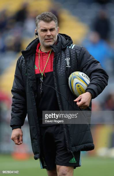 Nick Easter the Harlequins defence coach looks on during the Aviva Premiership match between Worcester Warriors and Harlequins at Sixways Stadium on...