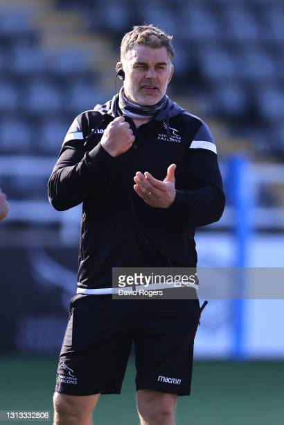 Nick Easter, the Newcastle Falcons defence coach looks on during the Gallagher Premiership Rugby match between Newcastle Falcons and Bristol Bears at...