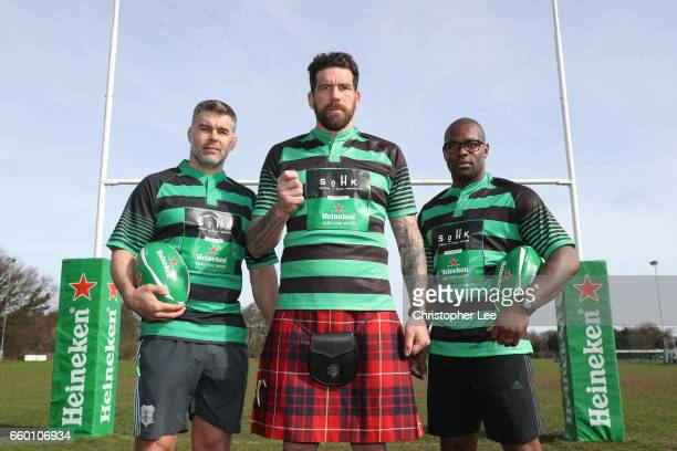 Nick EasterJim Hamilton and Ugo Monye pose during the Heineken Presents Take the Hit with School of Hard Knocks at Richmond Park on March 13 2017 in...