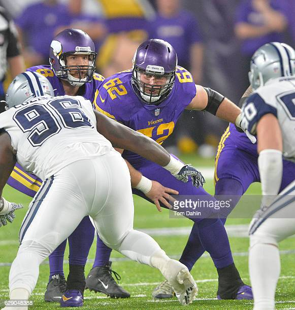 Nick Easton of the Minnesota Vikings blocks during an NFL game against the Dallas Cowboys at US Bank Stadium December 1 2016 in Minneapolis Minnesota