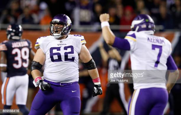 Nick Easton of the Minnesota Vikings reacts after the Vikings scored a touchdown in the third quarter against the Chicago Bears at Soldier Field on...