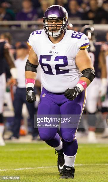 Nick Easton of the Minnesota Vikings walks on the field in the first quarter against the Chicago Bears at Soldier Field on October 9 2017 in Chicago...