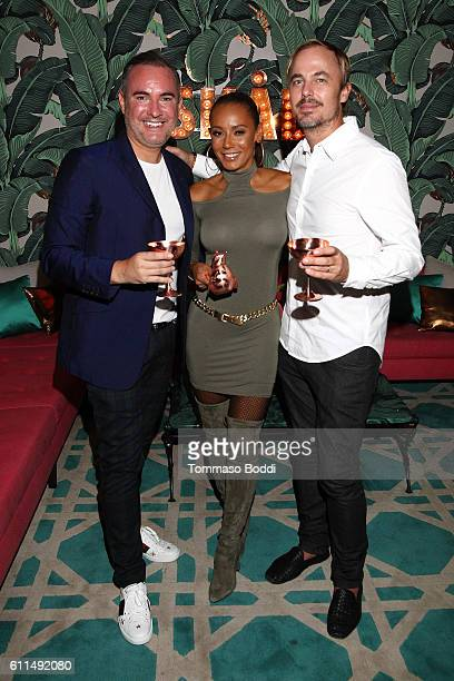 Nick Ede Mel B and Jonas Tahlin attend a private dinner at the home of Jonas Tahlin CEO Absolut Elyx on September 29 2016 in West Hollywood California