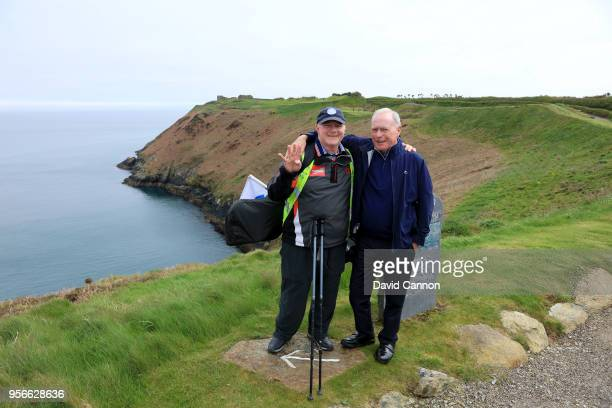 Nick Edmund of England a two time cancer survivor is welcomed on the 13th tee by Jim O'Brien the General Manager of the Old Head Golf Links during...