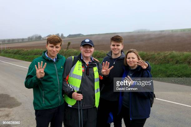 Nick Edmund of England a two time cancer survivor with his family his wife Teresa Edmund and sons Max Edmund and George Edmund on the road to the Old...
