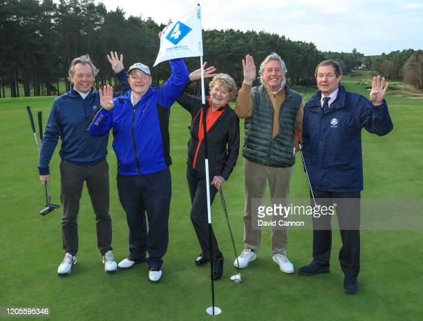 Nick Edmund of England poses for a group picture with his playing partners Paul Sedgwick the vice-captain of Sunningdale , Julia German the Lady...
