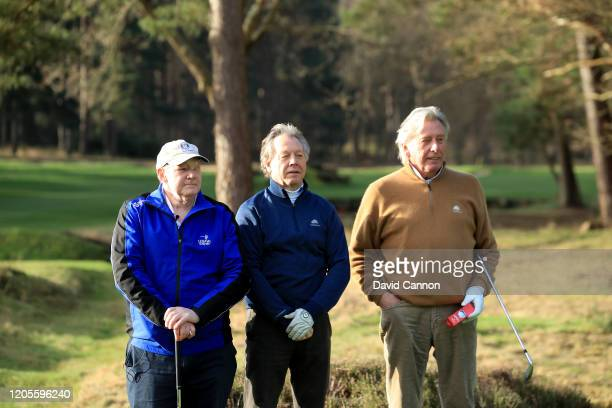 Nick Edmund of England watches with Paul Sedgwick the vice-captain of Sunningdale , and Michael King the former European Ryder Cup player and long...