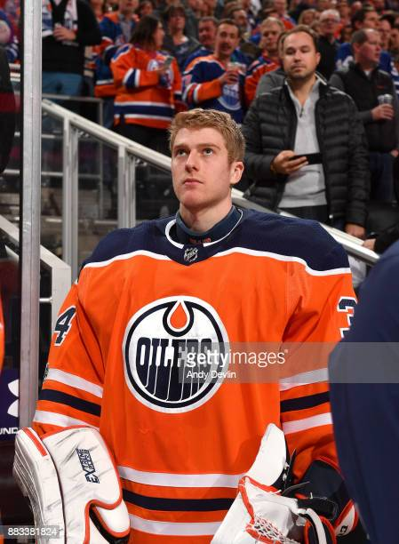 Nick Ellis of the Edmonton Oilers stands for the singing of the national anthem prior to the game against the Toronto Maple Leafs on November 30 2017...