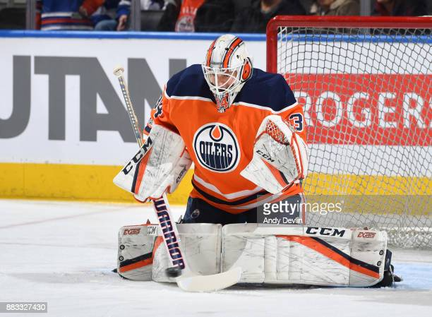 Nick Ellis of the Edmonton Oilers warms up prior to the game against the Toronto Maple Leafs on November 30 2017 at Rogers Place in Edmonton Alberta...