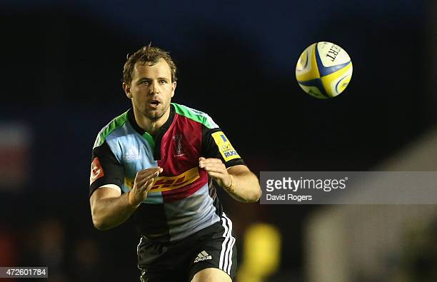 Nick Evans of Harlequins catches the ball during the Aviva Premiership match between Harlequins and Bath at the Twickenham Stoop on May 8 2015 in...