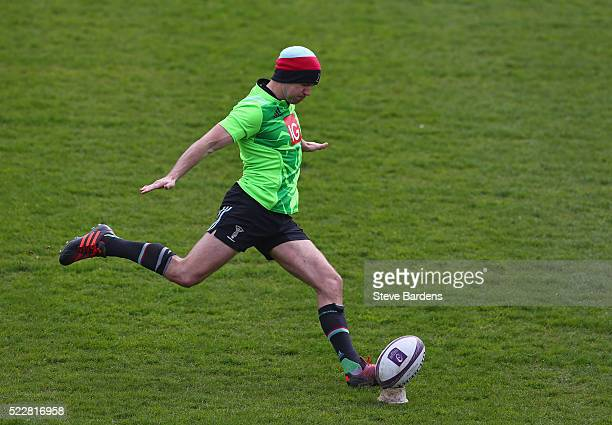 Nick Evans of Harlequins practises his place kicking during the Harlequins captain's run at Twickenham Stoop on April 21 2016 in London England