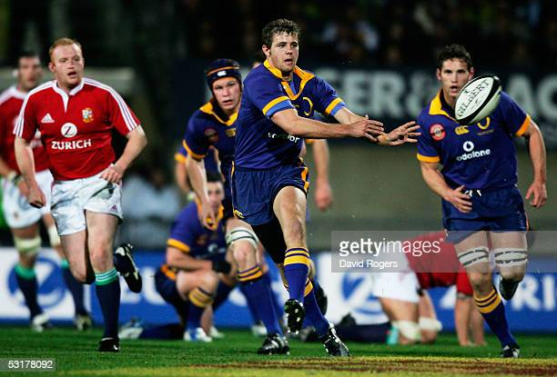 Nick Evans of Otago passes the ball during the match between Otago and the British and Irish Lions at Carisbrook on June 18, 2005 in Dunedin, New...