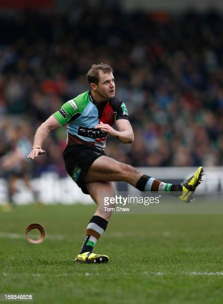 Nick Evans of Quins kicks a conversion during the Heineken Cup match between Harlequins and Connacht Rugby at Twickenham Stoop on January 12 2013 in...