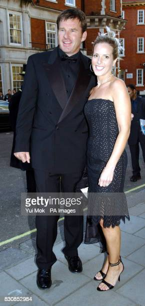 Nick Faldo and his wife Valerie arriving for the wedding reception of Sun columnist Jane Moore and Gary Farrow at Claridge's Hotel in central London