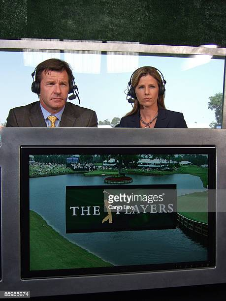 Nick Faldo and Kelly Tilghman during the second round of THE PLAYERS Championship held on THE PLAYERS Stadium Course at TPC Sawgrass in Ponte Vedra...