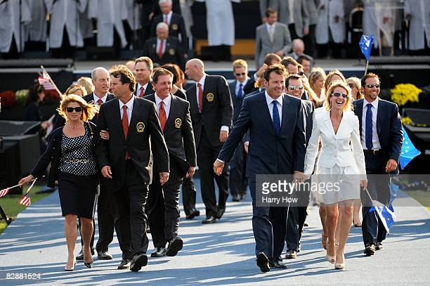 Nick Faldo captain of the European team and Paul Azinger captain of the USA team walk out with their wives and partners after the opening ceremony...