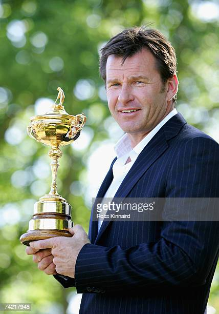 Nick Faldo of England, Captain of The European Ryder Cup team for 2008, which will be played at Valhalla Golf Club, Kentucky, poses with the Ryder...