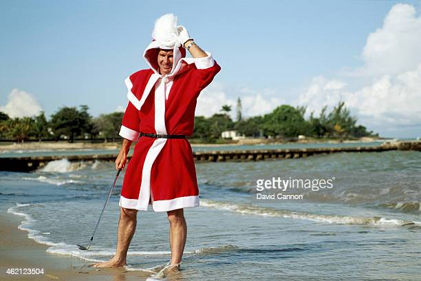 Nick Faldo of England dressed up as Father Christmas as a preview for the 1992 Johnnie Walker World Championship on December 16 1992 in Tryall Jamaica
