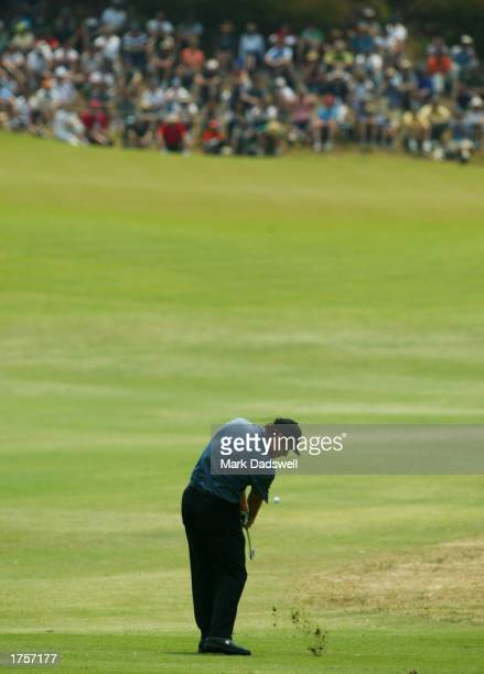 Nick Faldo of England hits his approach shot on the fourth hole, during the final round of the Heineken Classic at Royal Melbourne Golf Club in...