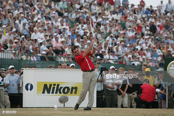 Nick Faldo of England in action during the first round of The Open Championship at Royal Liverpool Golf Club on July 20 2006 in Hoylake England