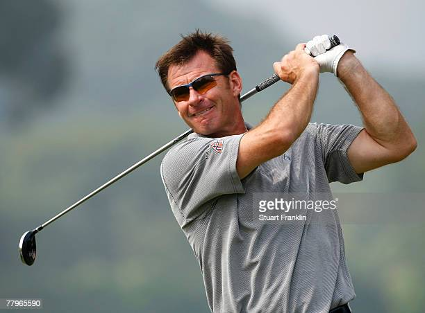Nick Faldo of England plays his tee shot on the 18th hole during the final round of the UBS Hong Kong Open at the Hong Kong Golf Club on November 18,...