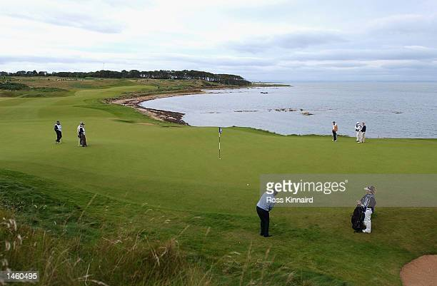 Nick Faldo of England plays his thirs shot to the par five 12th hole during the third day of the Dunhill Links Championships being played at the...