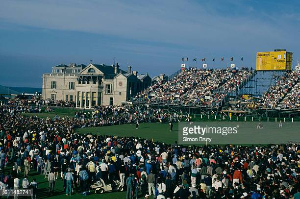 Nick Faldo of England putts on the18th green to win the 119th Open Championship played on the Old Course at St Andrews on 22 July 1990 in St...
