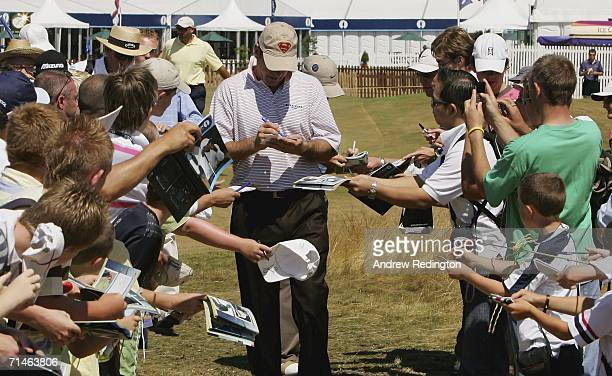 Nick Faldo of England signs autographs for fans during practice for The Open Championship at Royal Liverpool Golf Club on July 17, 2006 in Hoylake,...