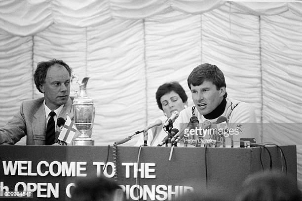 Nick Faldo of England tallks to the media watched by David Begg the RA Press officer and his wife Gill Faldo after his victory during the final round...