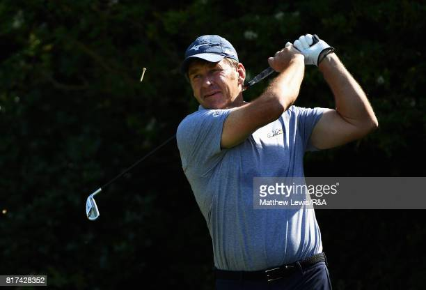 Nick Faldo of England tees off during a practice round prior to the 146th Open Championship at Royal Birkdale on July 18, 2017 in Southport, England.