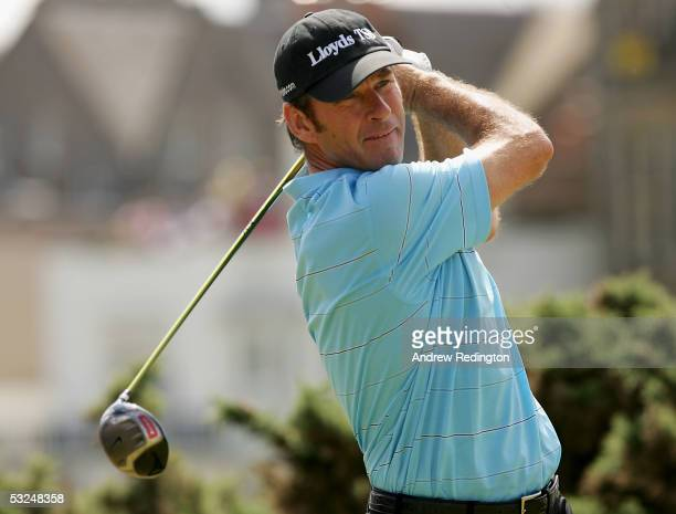 Nick Faldo of England tees off on the second hole during the final round of the 134th Open Championship at Old Course, St Andrews Golf Links, July...