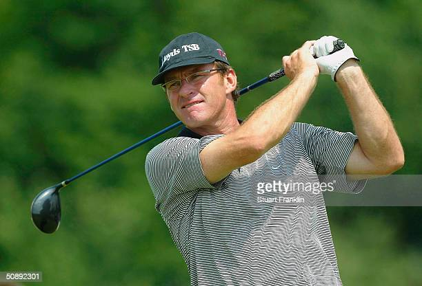 Nick Faldo of England tees off on the third hole during the second round of the Deutsche Bank SAP Open at St LeonRot Golf Club on May 21 2004 in...