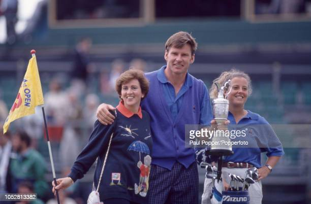 Nick Faldo of England with the Claret Jug and wife Gill and caddy Fanny Sunesson after winning the 1992 British Open Golf Championship held at...