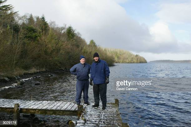 Nick Faldo of England with the owner of the property Jim Treacy during his site visit to a proposed new course project at Castle Hume Golf Club on...